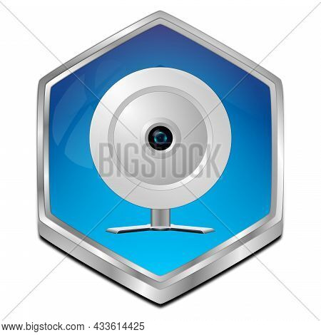 Button With Webcam Glossy Blue - 3d Illustration