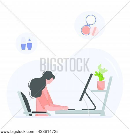 Vector Illustration Girl At Computer Makes An Order And Purchases Of Beauty Products. Ordering For D