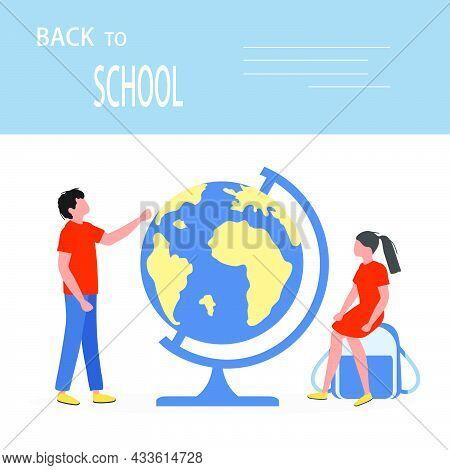 Vector Illustration Children Globe Elementary School Pupils Schoolboy, Schoolgirl Excited To Start S
