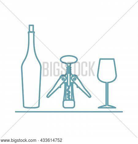 Vector Illustration Wine Bottle, Wineglass, Corkscrew Liquor Store, Bar Alcohol Drinks Market Concep