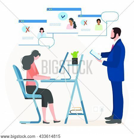 Vector Illustration People Choosing Candidate For Job Using Computer. Employment Agency. Online Recr