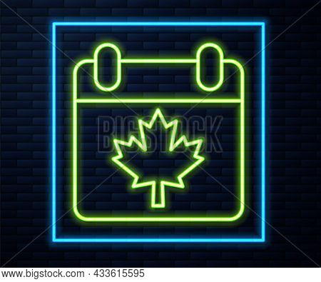 Glowing Neon Line Canada Day With Maple Leaf Icon Isolated On Brick Wall Background. 1-th Of July In