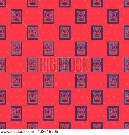 Blue Line Cd Disk Award In Frame Icon Isolated Seamless Pattern On Red Background. Modern Ceremony.