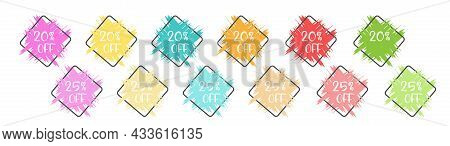 Set Of Colored Grunge Stickers With A 20 And 25 Percent Discount For Business, Sales, Advertising Pr