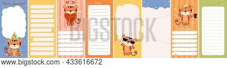Weekly Or Daily Planner Set, Note Paper, To-do List Decorated With Cute Tiger With Christmas Tree, A