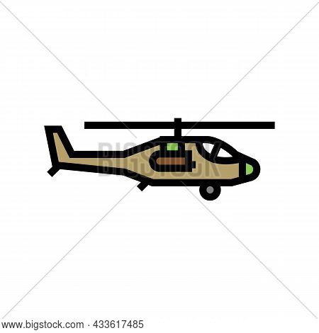 Helicopter Flying Army Machine Color Icon Vector. Helicopter Flying Army Machine Sign. Isolated Symb