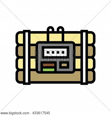 Bomb Danger Color Icon Vector. Bomb Danger Sign. Isolated Symbol Illustration