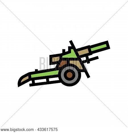 Artillery War Weapon Color Icon Vector. Artillery War Weapon Sign. Isolated Symbol Illustration