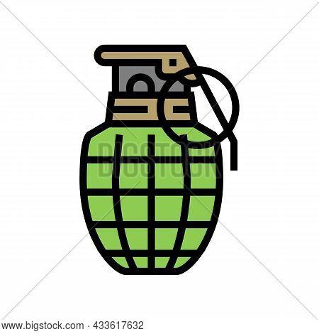 Grenade War Weapon Color Icon Vector. Grenade War Weapon Sign. Isolated Symbol Illustration