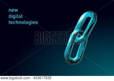 Blockchain Link Sign Low Poly Design. Internet Technology Chain Icon Triangle Polygonal Hyperlink Se