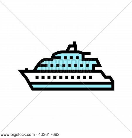 Motor Yacht Boat Color Icon Vector. Motor Yacht Boat Sign. Isolated Symbol Illustration