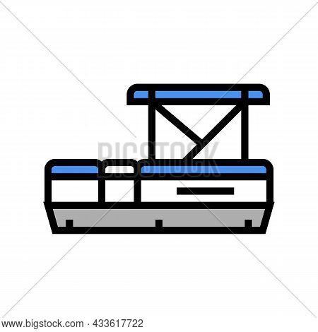 Pontoon Boat Color Icon Vector. Pontoon Boat Sign. Isolated Symbol Illustration
