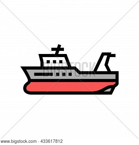 Trawler Boat Color Icon Vector. Trawler Boat Sign. Isolated Symbol Illustration