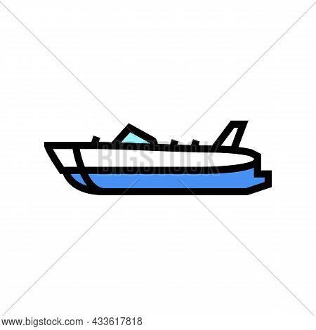 Deck Boat Color Icon Vector. Deck Boat Sign. Isolated Symbol Illustration