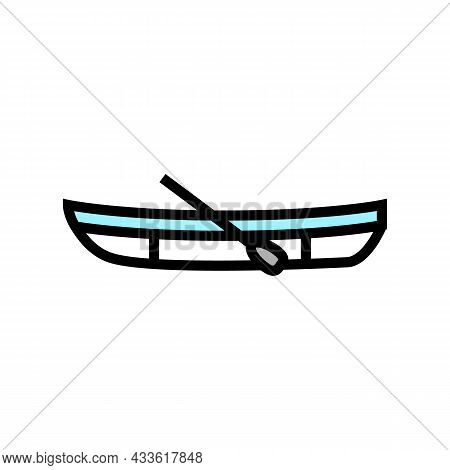 Dinghy Boat Color Icon Vector. Dinghy Boat Sign. Isolated Symbol Illustration