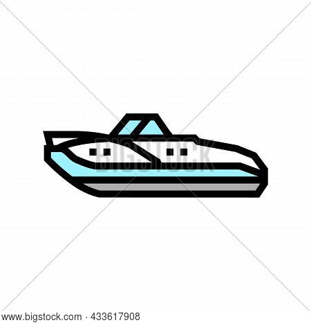 Cuddy Cabins Boat Color Icon Vector. Cuddy Cabins Boat Sign. Isolated Symbol Illustration
