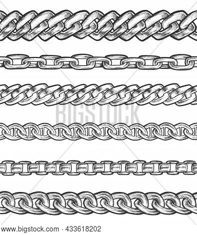 Set Of Isolated Sketch For Chain Connection Types. Metal Bonded Link. Steel Bond Or Connected Metall
