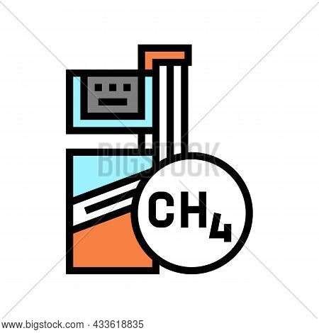 Methane Gas Station Color Icon Vector. Methane Gas Station Sign. Isolated Symbol Illustration