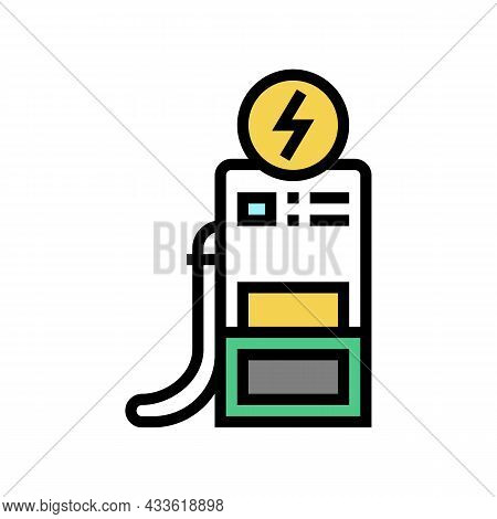 Charging Electric Car Station Color Icon Vector. Charging Electric Car Station Sign. Isolated Symbol