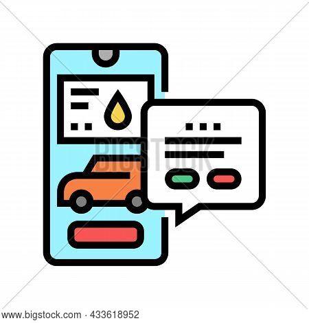 Refuel Car Through Phone Application Color Icon Vector. Refuel Car Through Phone Application Sign. I