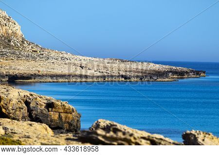 Mediterranean Sea Beach. Stones And Rocks. Summer Day Seascape. Clear Water Texture. Aerial View, Su