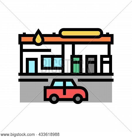 Gas Station Building Color Icon Vector. Gas Station Building Sign. Isolated Symbol Illustration