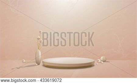 Studio Room With Podium And Flowers Ball In Vase On Marble Floor Background,gallery Room With Sport