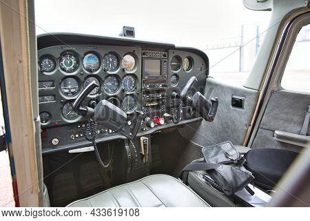 Caen, France - June Circa, 2016. Cockpit Detail. Cockpit Of A Small Aircraft Cessna, Empy, No People