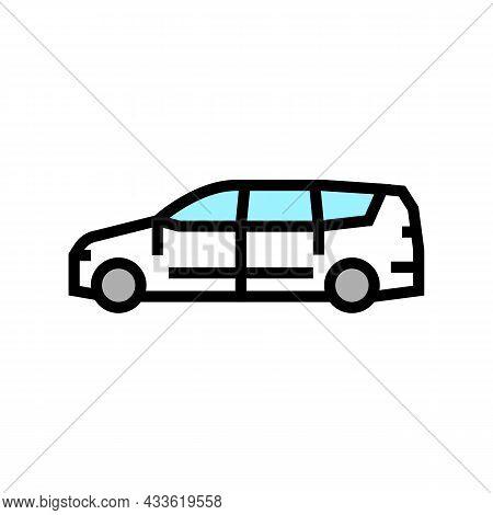 Van Minivan Car Color Icon Vector. Van Minivan Car Sign. Isolated Symbol Illustration