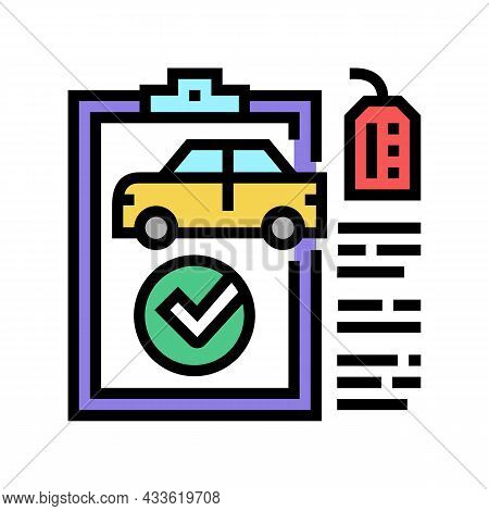 Check Used Car Color Icon Vector. Check Used Car Sign. Isolated Symbol Illustration