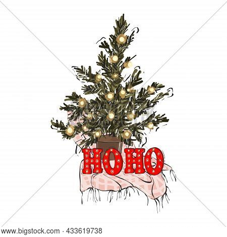 Christmas Tree With Garland Winter Holiday Design, Noel Evergreen Tree Festive Greeting Card Hohoho