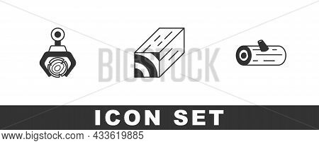Set Grapple Crane Grabbed A Log, Wooden Beam And Logs Icon. Vector