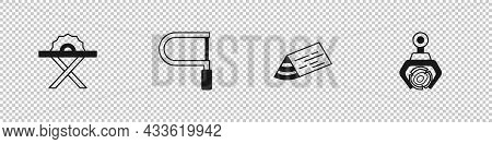 Set Electric Circular Saw, Hacksaw, Wooden Beam And Grapple Crane Grabbed Log Icon. Vector