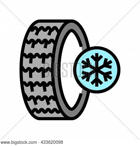 Ice Winter Season Tires Color Icon Vector. Ice Winter Season Tires Sign. Isolated Symbol Illustratio