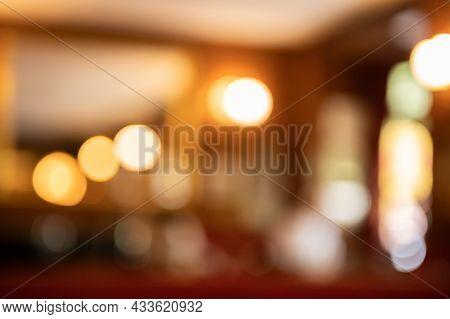 Defocused Background With Beautiful Bokeh Of Elegant Restaurant Lounge.beauty Backgrounds