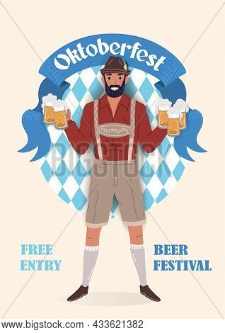 Oktoberfest Beer Festival Vintage Poster. Smiling Man In Traditional German National Clothes With Gl