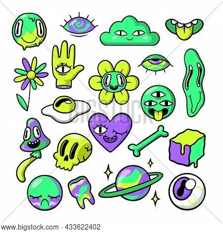 Neon Cartoon Stickers Of Crazy Mushroom, Flower, Cloud, Heart, Hand With Eyes. Vector Illustration S