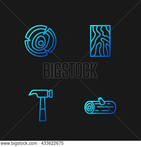 Set Line Wooden Logs, Hammer, And Beam. Gradient Color Icons. Vector