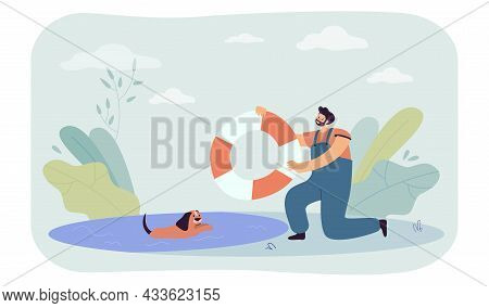 Rescuer Cartoon Character Holding Lifebuoy For Dog In Water. Lifeguard Saving Puppy Flat Vector Illu