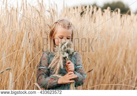 Positive Charming Little Girl Enjoying Summer Sunny Day, Expression Emotions, Having Fun, Happy Chil