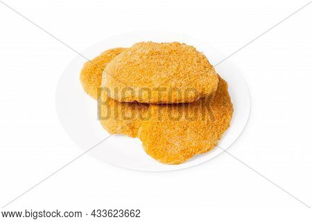 Fast Homemade Food. Fast Food. Breaded Chicken Schnitzels On A White Plate.fast Homemade Food.fast F