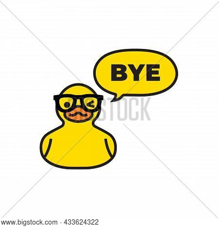Yellow Duck With Speech Bubble Isolated On White