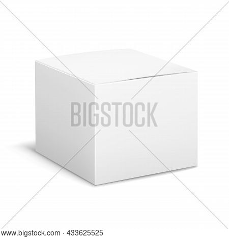 Empty Box White. Cubic Cosmetic Cardboard Box Angle View, Blank Package With Shadows, Medicine Produ