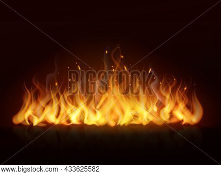 Flame Line Realistic. Hot Fireplace Flames Burning Fiery Wall Warm Fire, Blazing Bonfire Red And Ora