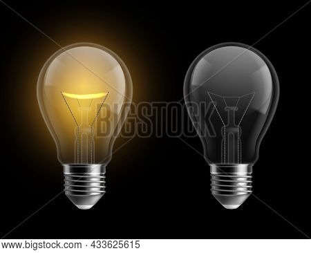 Light Bulb Realistic. Glowing And Turned Off Isolated On Black Lamps. Bright Yellow Glow, Electrical