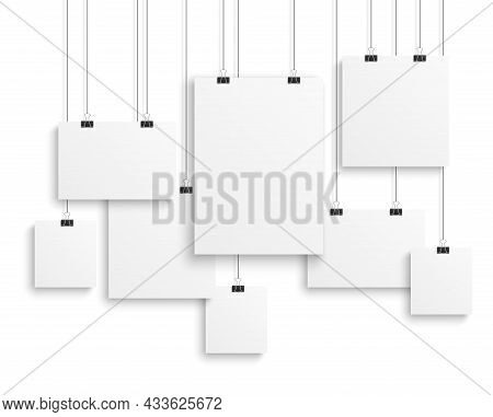 Picture Gallery Empty. Photo Canvas Clean Advertising Hanging Banner On Strings, Presentation Paper