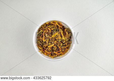Pot Marigold, Common Marigold, Ruddles Or Scotch Marigold Medicinal Plant Used In Herbal Medicine. H