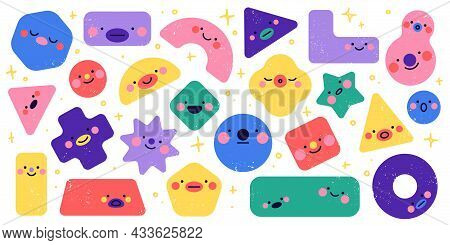Geometric Shapes Characters. Funny Different Simple Figures, Square Triangle And Circle Forms, Cute
