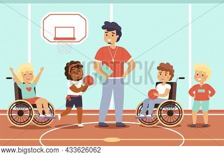 Disabled Kid Sport. Happy Children In Gym With Coach, Fun Young Wheelchair Athletes, Mixed Sports Te