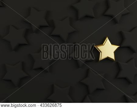 Golden Star Among Black Stars On Dark Background For Different Thinking Idea Or Outstanding Performa